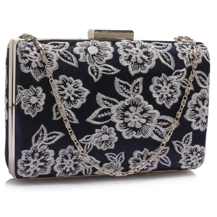 Śliczna haftowana torebka wizytowa granatowa granatowy || biały | Sklep internetowy Evangarda.pl