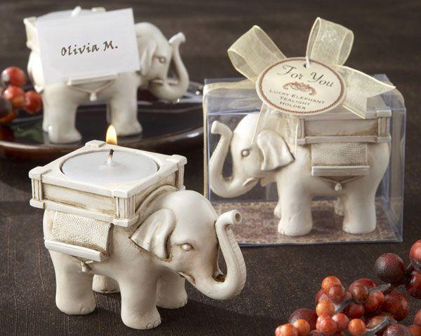 """Lucky Elephant"" Tea Light Holder. Great wedding favor for Emma's wedding."
