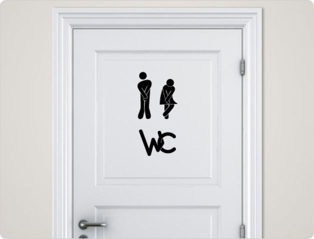 Elegant Wandtattoo f r Deine WC T r wall tattoo for your restroom door made by I