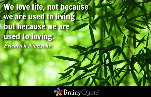We love life, not because we are used to living but because we are used to loving. - Friedrich Nietzsche