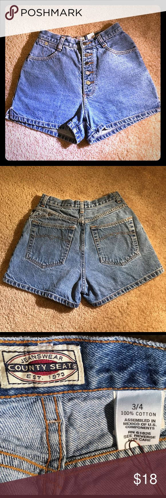 🌞🌻Vintage, COUNTY SEAT, High Wasted Button FLYS! 🌞🌻 Vintage,  County Seat, High Wasted Button FLY Shorts, Size 3/4! Sooooo Cute!🌞🌻  ♦️These Are in Perfect Vintage Condition, they are seriously ADORABLE, and Perfect for Summer.  ✔️No stains, Rips, or Damages   ✔️Classic Blue jean Wash  ✔️100% Cotton! No Stretch here!  Measurements:   Waist: 24 inches  Hips: 34 inches  Rise: 12 inches  Length (outer side seam) : 12 inches Vintage, County Seat Shorts Jean Shorts