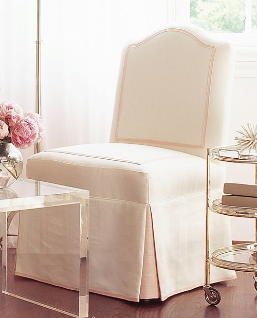 Love everything ~ especially parsons chair with trim and contrast pleat | Phoebe Howard