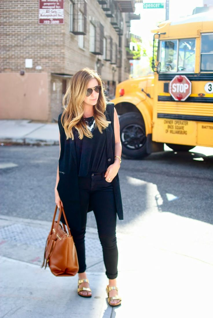Black on Black outfit with gold birkenstocks