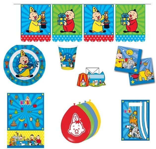 Maak je Bumba verjaardagsfeest compleet met dit feestpakket. Het 62-delige Bumba pakket bevat alle ingredienten om er een geslaagd feest van te maken. Inhoud: Een vlaggenlijn van 10 meter, Een tafelkleed van 130 x 180 cm, 8 ballonnen, 8 uitnodigingen, 8 kartonnen bordjes, 8 kartonnen bekers, 20 servetten, 8 feestzakjes   Afmeting: volgt later.. - Feestpakket Bumba: 62-delig