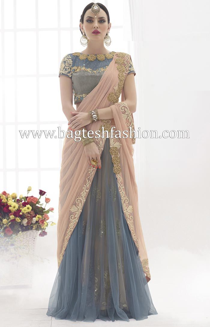 Stylish Peach And Grey Net Lehenga Saree http://www.bagteshfashion.com/women/sarees/lehenga-sarees