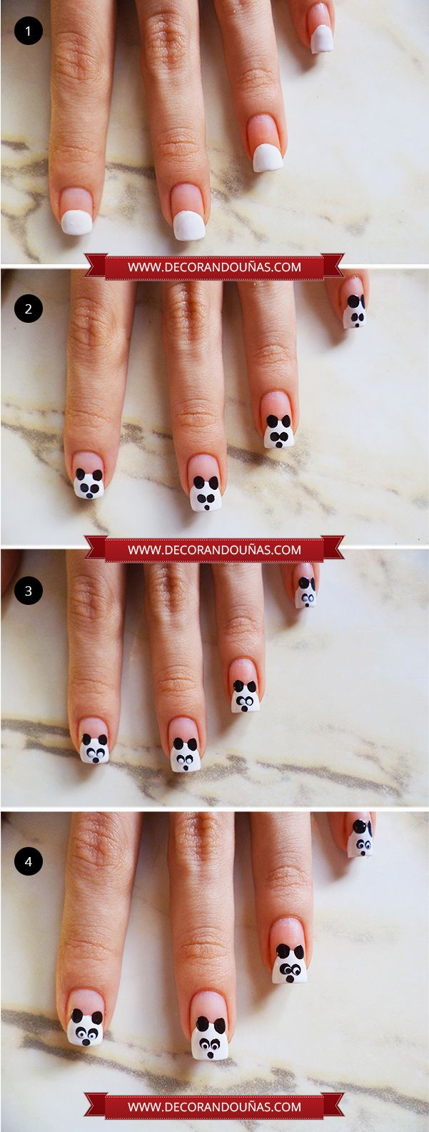 Uñas pintadas con un hermoso oso panda – Paso a paso | Decoración de Uñas - Manicura y NailArt