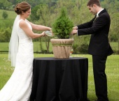 I really like the idea of a tree planting ceremony instead of the boring old unity candle. The couple waters the tree, then takes it home and plants in their yard. Just as the plant grows, so too will their love grow with time. Great idea and so fitting for the ranch