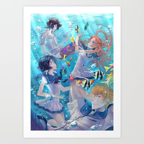 BLEACH Rukia Orihime Ichigo Ulquiorra / Nagi no Asukara crossover -  Art Print by Lüleiya | Society6