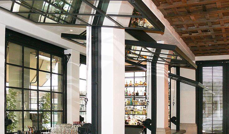 restaurant awning windows | La Sandia Restaurant, Santa Monica | Meridian Manufacturing | Custom ...