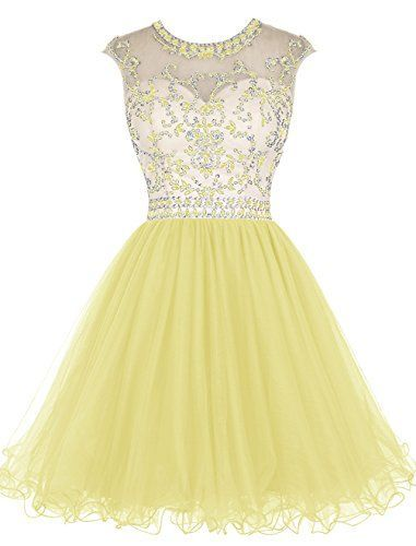 Yellow Prom Dresses,Beaded Homecoming Dresses,Fashion Homecoming Dress,Sexy Party Dress,Custom Made Evening Dress