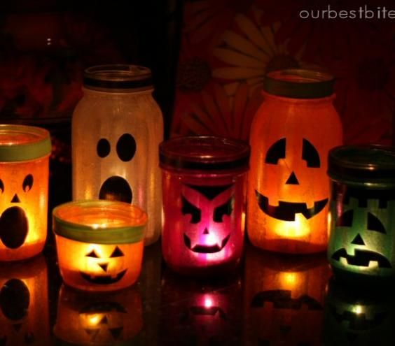 Mason Jar Lanterns | If you want to do something craftier than carving a pumpkin, use these DIY tricks to make spooky decorations and treats.