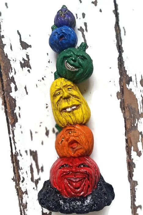 Rainbow Halloween Pumpkin Totem LGBT Gay Lesbian Ceramic Statue Day of the Dead by YukonJimsTradingCo on Etsy