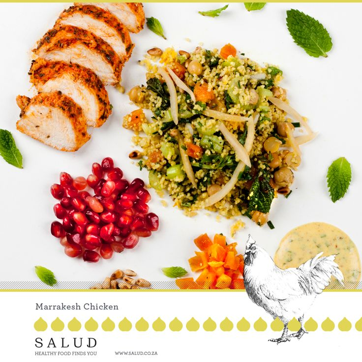 Moroccan inspired Cous Cous Chicken Salad  Healthy prepared take home meals delivered to you.   www.salud.co.za