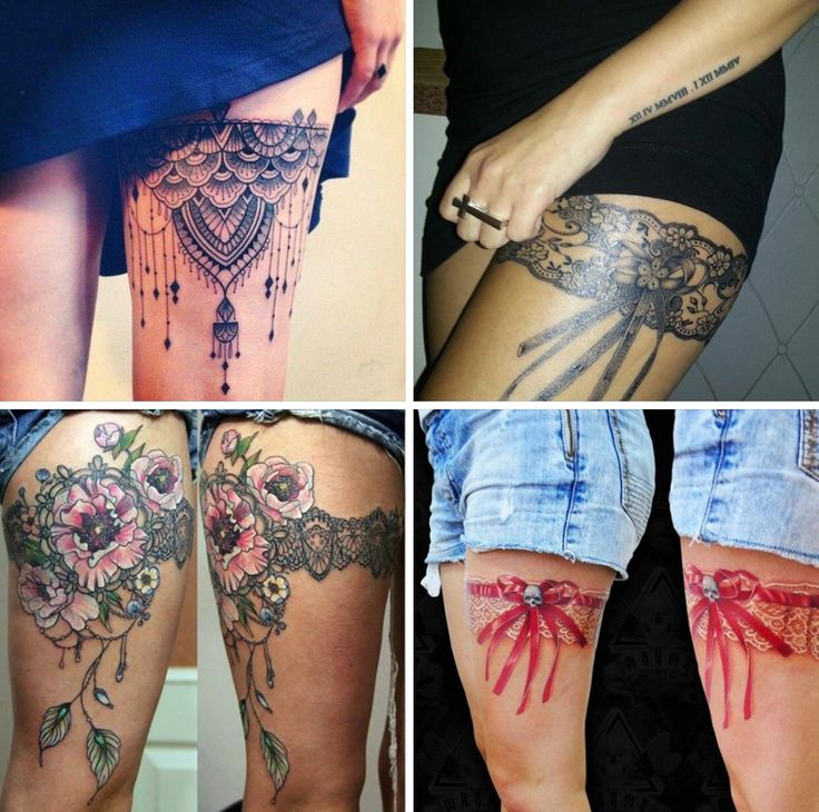 4 different upper thigh tattoos