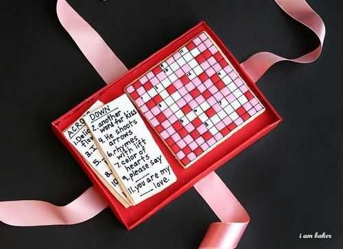 Crossword cookies & cake gift box- 19 Great DIY Valentine's Day Gift Ideas for Him