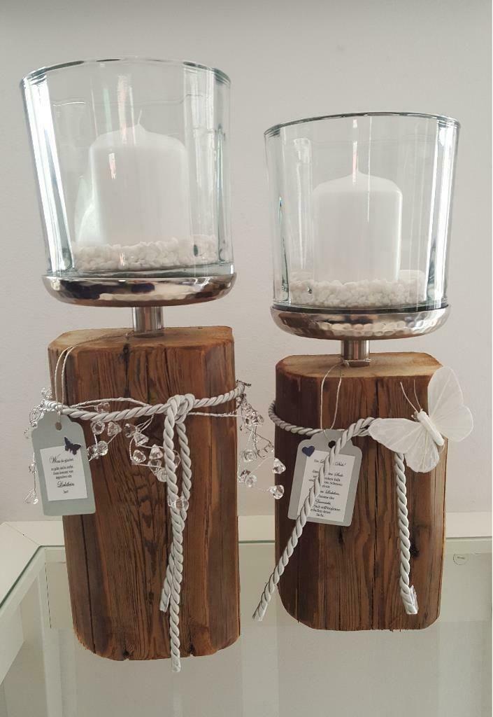 Kerzenleuchter Glas Holz Deko Windlicht Holzbalken Edelstahl In