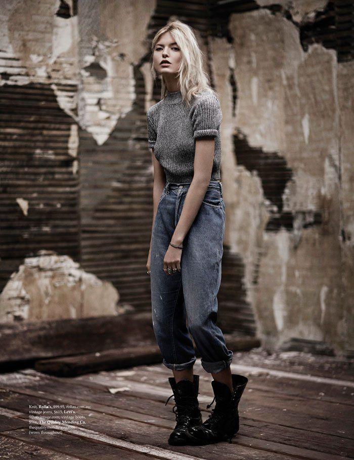 Up Fashion Magazine: Martha Hunt Poses In Denim For Adam Franzino In Elle