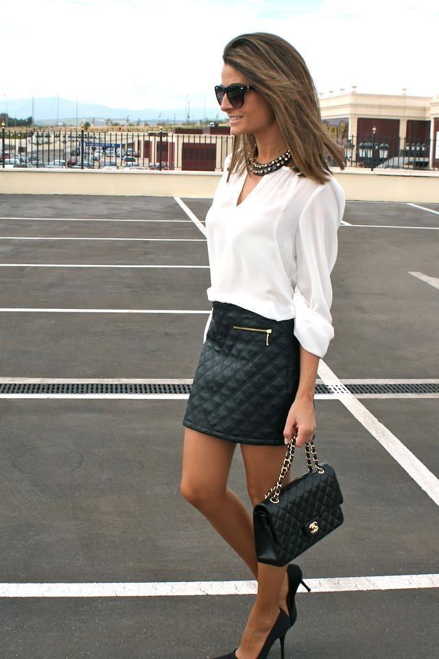 Shop this look on Kaleidoscope (skirt, blouse, purse, pumps, necklace)  http://kalei.do/WOENFf7eOWQ6uMYE