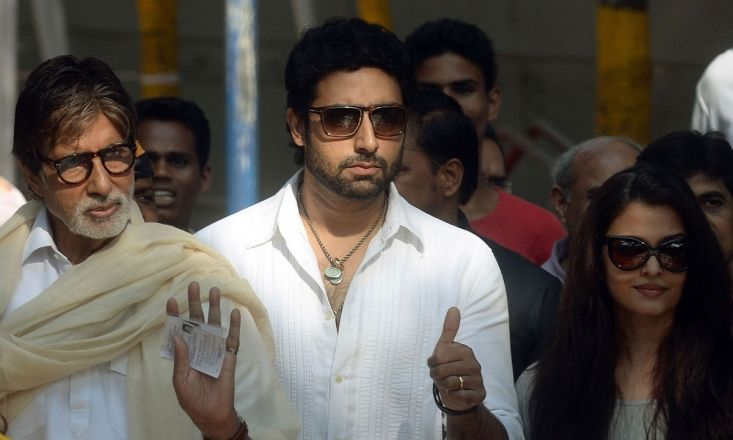Amitabh, Abhishek and Aishwarya cast their votes for the Lok Sabha elections