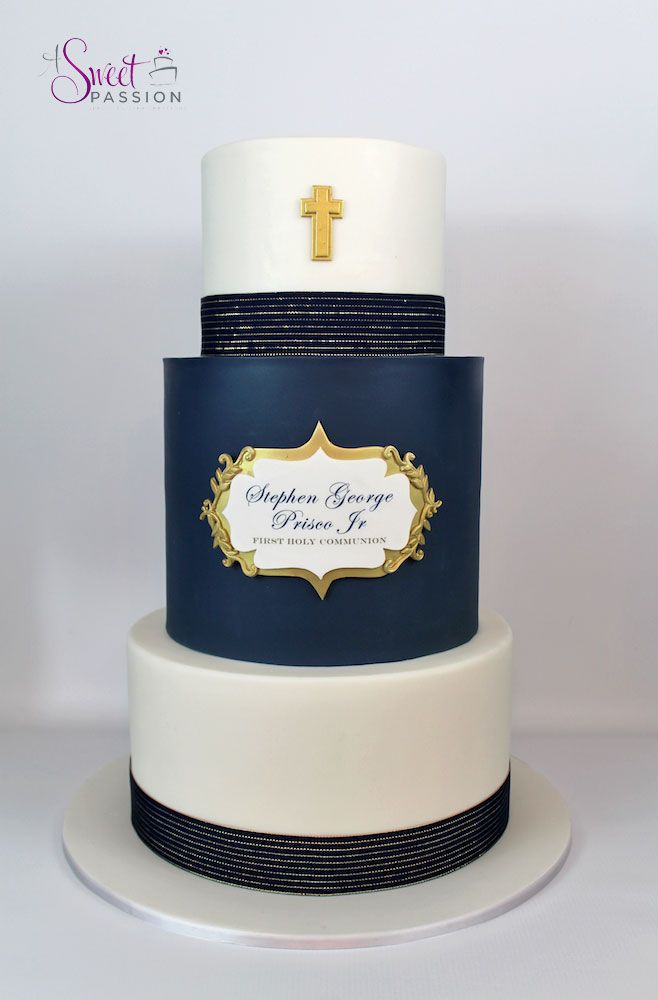 """This masculine first communion cake was inspired by a beautiful cake done by """"Caking it Up."""" The simple lines, gold details and custom plaque make for an elegant combination!  www.asweetpassion.com"""