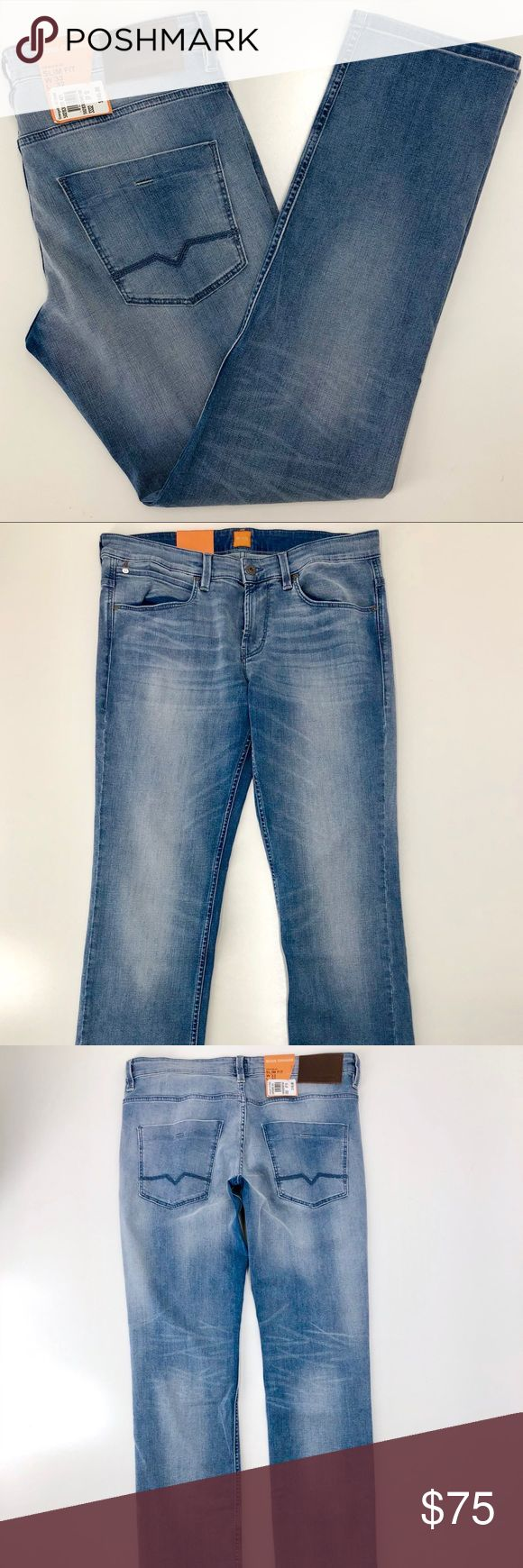 """Hugo Boss Orange 63 Jeans Mens 35W x 32L Slim Fit Hugo Boss Orange 63 Jeans Mens 35x32 Slim Fit. Distressed light blue Denim. Tag SAYS 33x32 BUT as you can see from the measurements, the waist is actually 35"""". See photographs for details! Hugo Boss Jeans Slim Straight #mensjeansslim"""