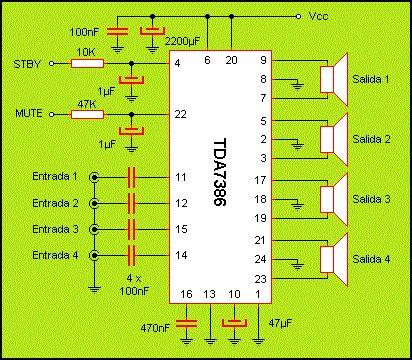 Circuitos Electrónicos Para Armar: Simple Amplificador de 4 Vías 30 wats fácil de armar