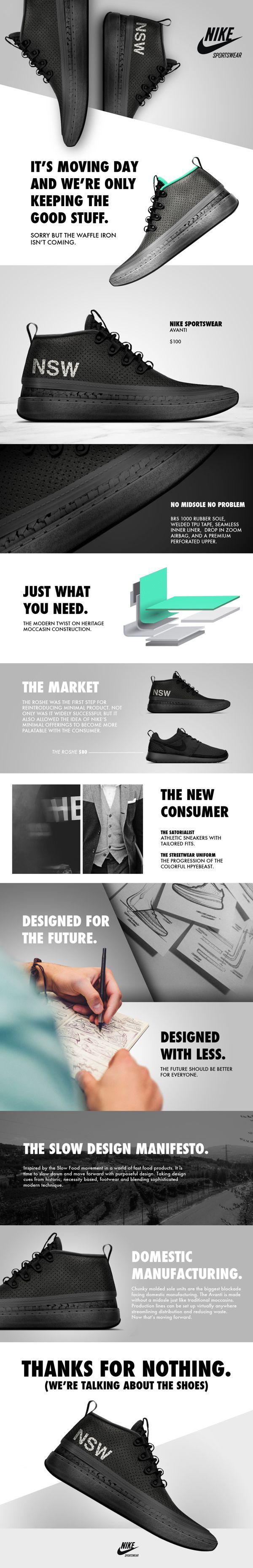 Nike footwear - like the use of angles to create depth