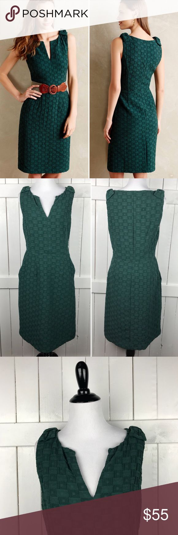 Anthropologie Tabitha Green Quilted Tema Dress Beautiful hunter green quilted tema dress from Anthropologie brand Tabitha. Size 6. Excellent pre worn condition! No trades or try ons please! Anthropologie Dresses