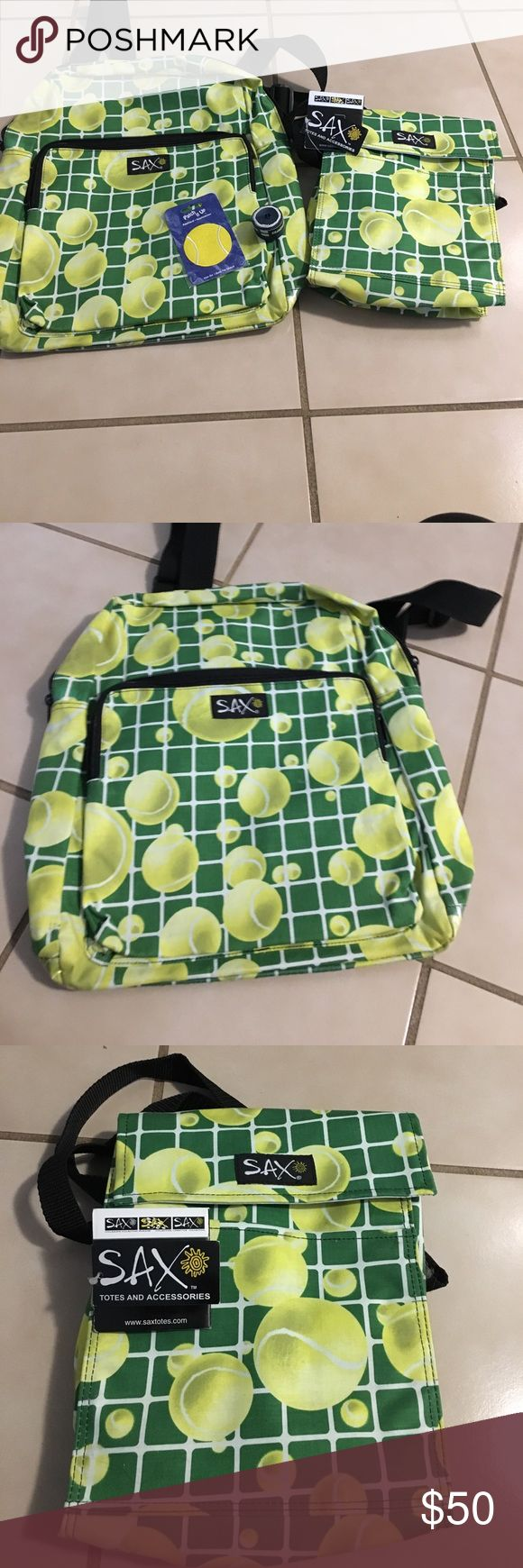 Tennis Anyone? 🎾🎾🎾🎾 Tennis, tennis!!!!! Full size tennis back pack.  Insulated lunch bag, tennis ball patch and racquet tape.  Lunch bag New with tags, so is patch and tape. The backpack was either never used or used once!  How fun for the tennis player!  You get all 4 items.🎾🎾🎾 Bags Backpacks