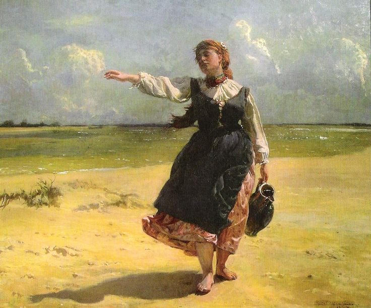 Girl with a Water Pitcher by Józef Chełmoński (Polish,1849-1914)