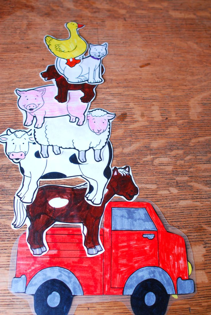 Old MacDonald-Love getting silly with songs- Old McDonald had a Truck/E-I-E-I-O/And in that truck he had a horse/etc or on top of his barn he had a cow-I also add silly others on farm & have children figure out the sounds...