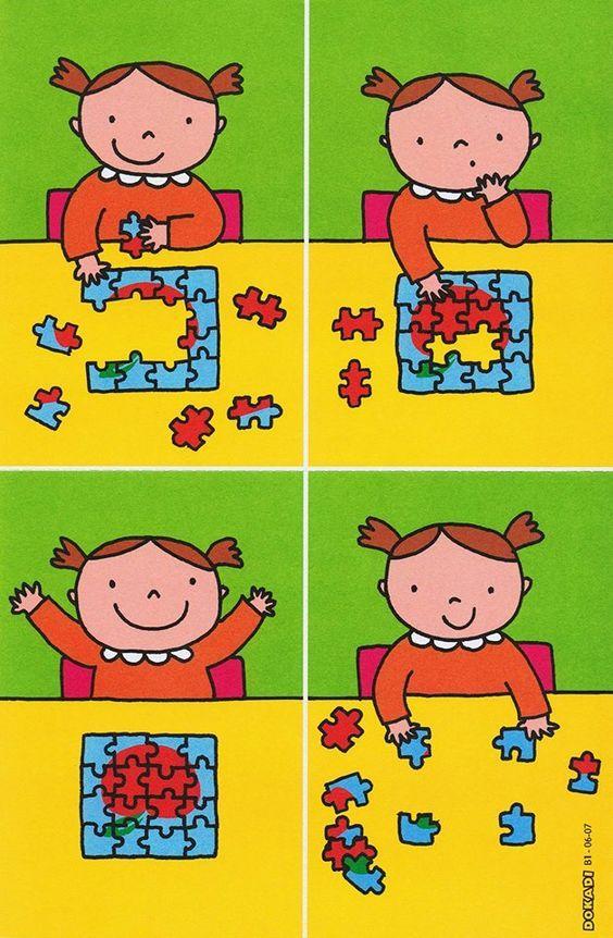 Puzzelen: stappenplan. Wel zo veranderen dat het 4e kaartje vd hoekjes het eerste kaartje is!!!: