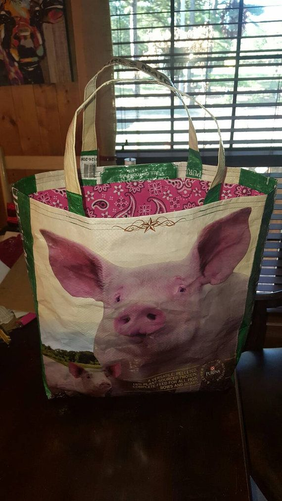 Recycled feed sack pig bag/purse/tote/grocery/stock show w/pink plaid liner