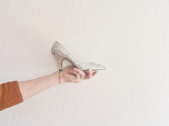 silver glitter sparkle high heels . razzle dazzle disco ball