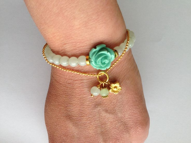 Bracelet with light green glass beads and resin rose, fine ball chain with charm. ByJeanette. https://www.facebook.com/pages/ByJeanette/341560142668272?ref=hl