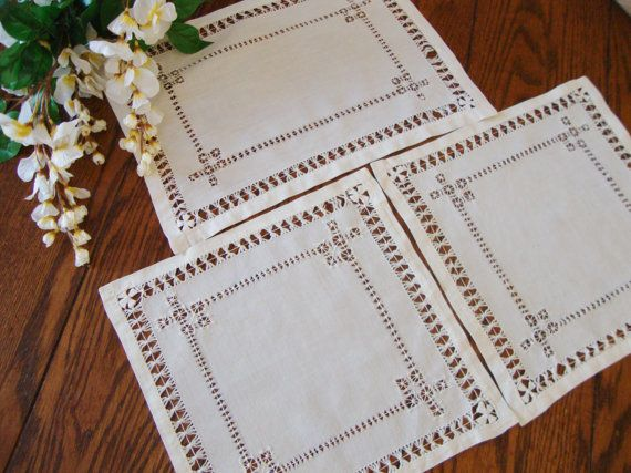 Antique Linen Doilies Set of Three Drawn by NettiesCollectibles