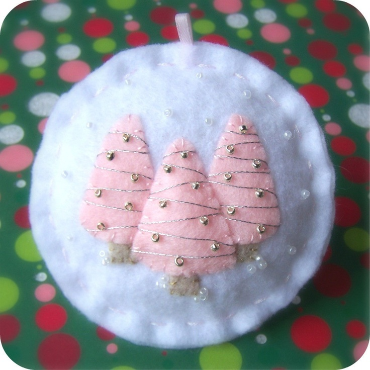 Ready to Ship - Holiday Forest Pink on White - Felt Christmas Ornament. $10.50, via Etsy.