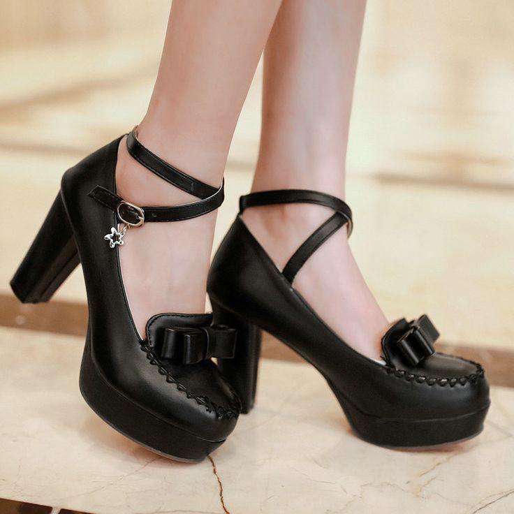 Весна и осень женщины лодыжки ремень туфли на каблуках элегантный с бантом галстук толстый каблук туфли на платформе туфли на высоком каблуке обувь свадебные ну вечеринку обувь, принадлежащий категории Обувь на платформе и относящийся к Обувь на сайте AliExpress.com | Alibaba Group