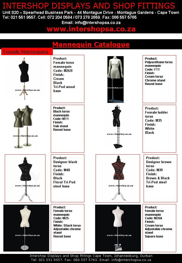 Full body male, female and kids mannequins, designer mannequins, display table top legs, sport mannequins and plastic forms