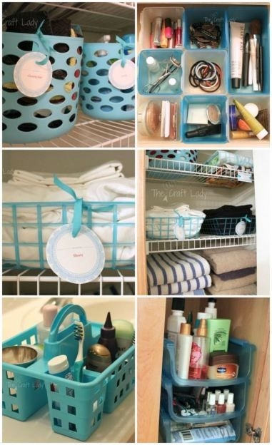 Dollar Store Bathroom Organizing - love this DIY home organization idea (and it's cheap, too!)