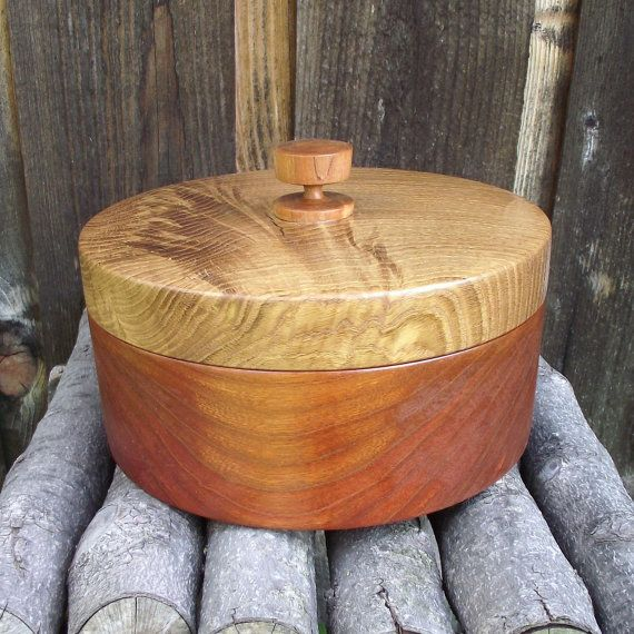 Wood Box with Lid - Hand Turned Lidded Wooden Box - Oak and Cherry Woods Wooden Box with Lid - Great gift idea