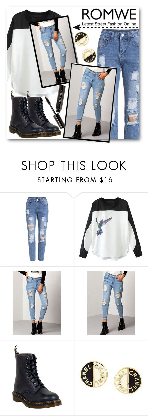 """Riped Jeans Romwe#3"" by kpopmember ❤ liked on Polyvore featuring WithChic, Dr. Martens, Chanel and Bobbi Brown Cosmetics"