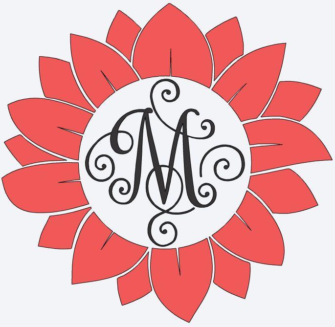 Monogram Flower Name Vinyl Decal Fancy Name Custom