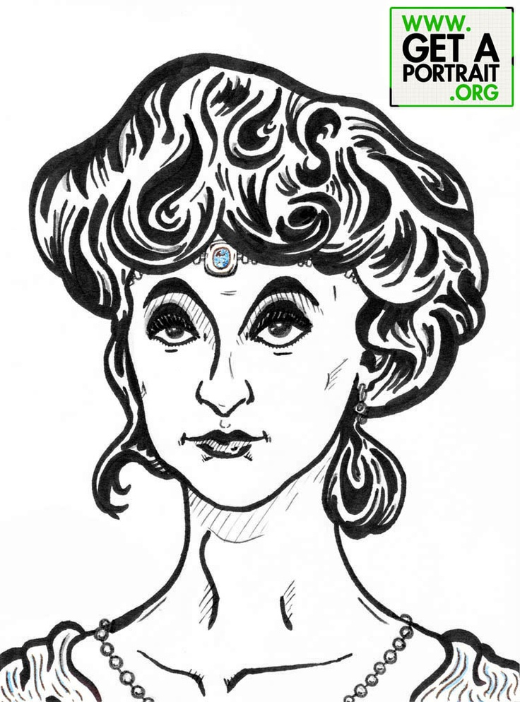 Portrait of Anna de Noailles, Romanian poet who lived in France — Get a high quality PORTRAIT or CARICATURE from a pro, for an unbeatable price! GetAPortrait.org