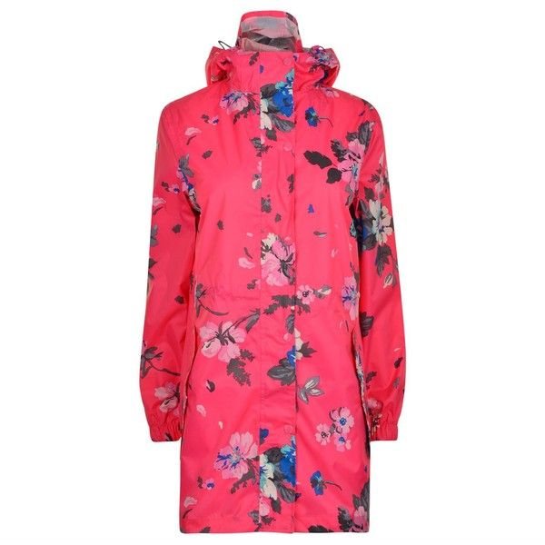 Joules Go Lightly Rain Coat (726.430 VND) ❤ liked on Polyvore featuring outerwear, coats, pink posy, pink raincoat, waterproof raincoat, floral print coat, waterproof coat and mac coat