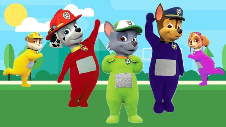 PAW PATROL Transforms Into TELETUBBIES Finger Family Song Paw Patrol Fin...