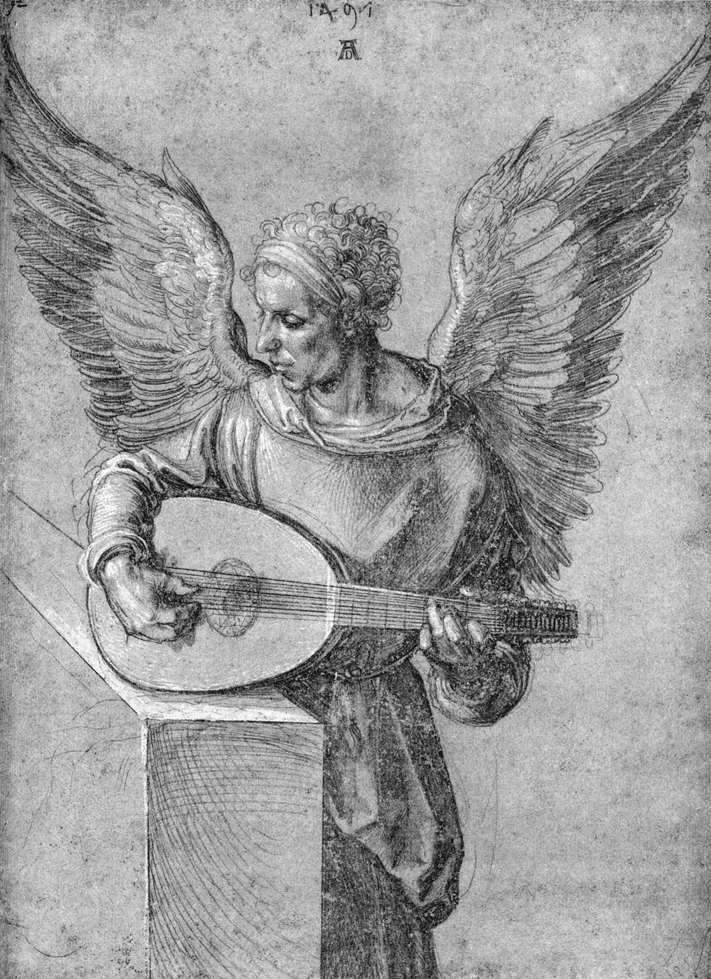 Albrecht Dürer ~ Winged Man, in Idealistic Clothing, Playing a Lute, 1497 (silverpoint on dark paper with white highlights)