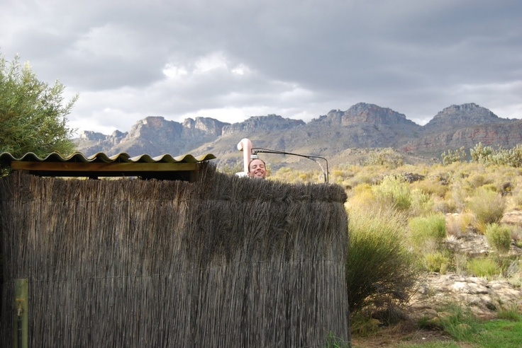 suikerbossie camping in south africa. peaceful and tranquil showering under the stars in real nature