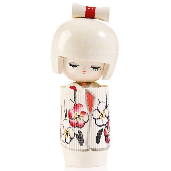 White Dreaming of Spring Kokeshi Doll