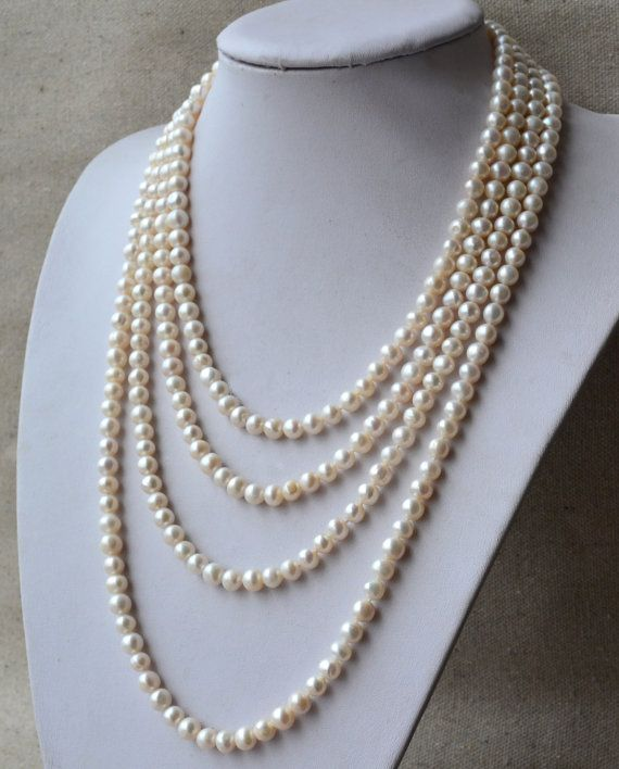 Long pearl necklace90 inches 78mm Ivory by goodgoodjewelry on Etsy, $31.00